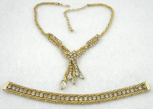 Misc. Signed M-R - Jewels by Julio (Marsella) Rhinestone Demi-Parure