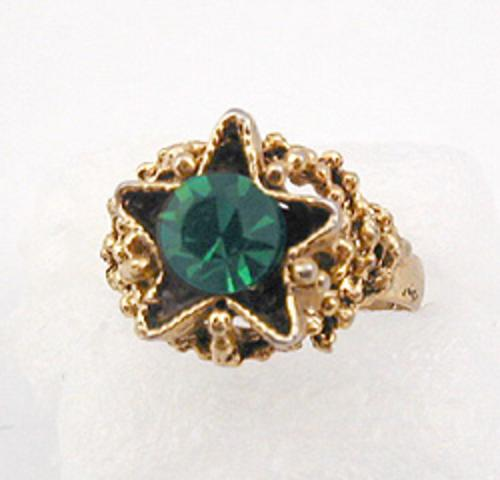 Newly Added Gold Tone Green Rhinestone Star Ring
