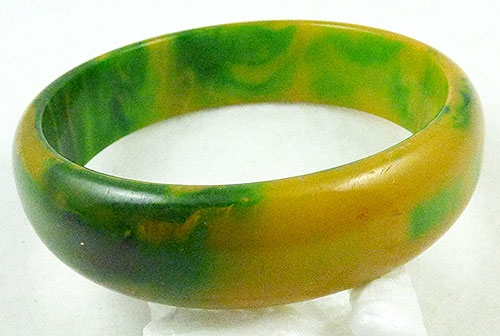 Newly Added Green Yellow Marbled Bakelite Bangle