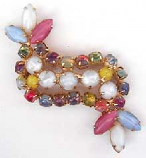 Newly Added Rainbow Givre Glass Brooch