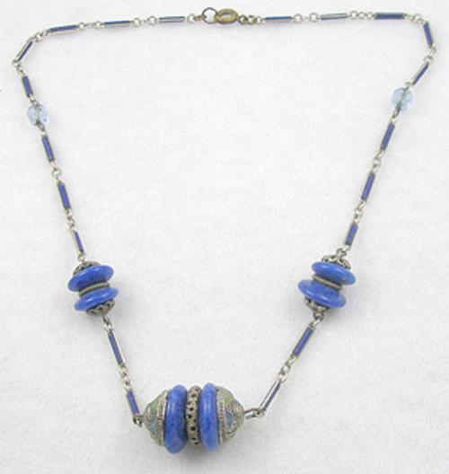 Art Deco - Art Deco Lapis Glass Bead Necklace