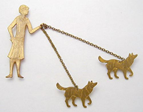 Figural Jewelry - People & Hands - Woman Walking Dogs Brooch