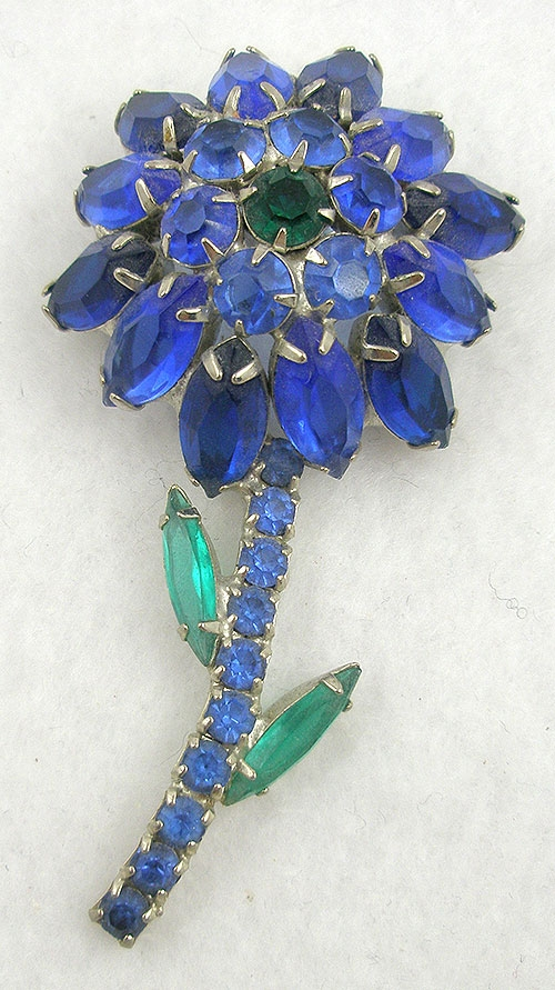 Brooches - Blue Rhinestone Flower Brooch