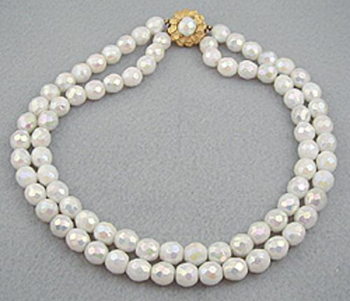 Bridal, Wedding, Special Occasion - White Aurora Glass Bead Necklace