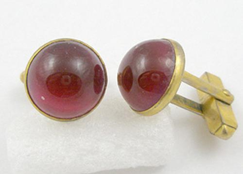 Men's Jewelry - Swank Red Glass Cufflinks