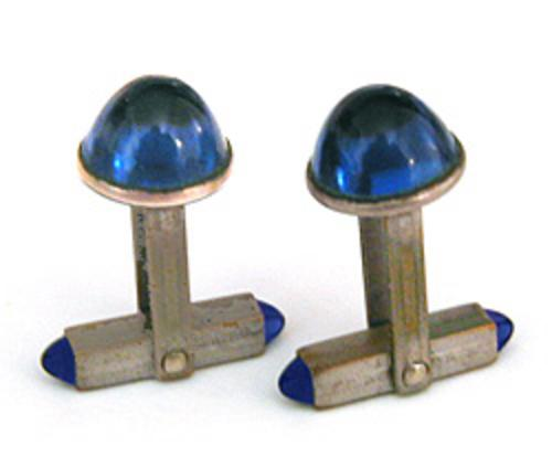 Art Deco - Blue Glass Bullet Cab Cuff Links