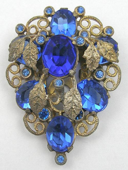 Dress & Fur Clips - Brass Leaves & Blue Rhinestone Dress Clip