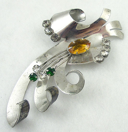 Brooches - Retro Sterling Ribbon Curl Brooch