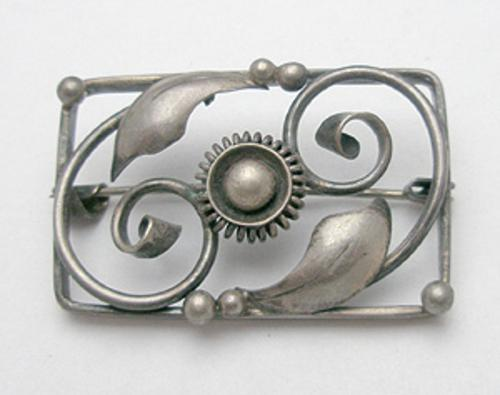 European - Scandinavian Silver Framed Leaves Brooch