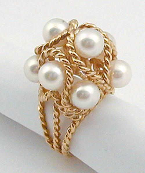Fine Antique Jewelry - 14K Gold Pearl Cocktail Ring