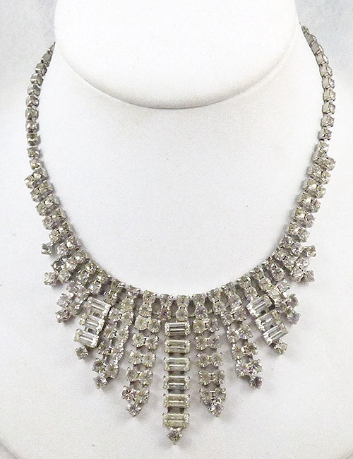 Necklaces - Clear Rhinestone Baguette Waterfall Bib Necklace