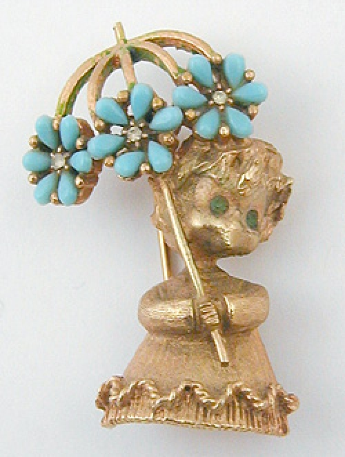 Figural Jewelry - People & Hands - Mylu Girl with Umbrella Brooch
