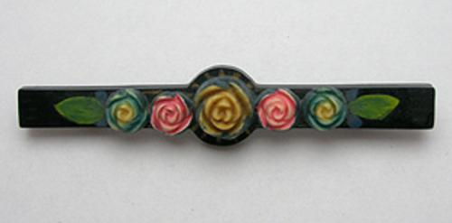 Bakelite, Celluloid, Galalith - Celluloid Flowers Bar Pin