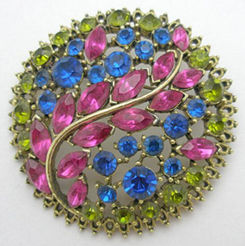 Newly Added Fuchsia Cobalt & Peridot Rhinestone Brooch