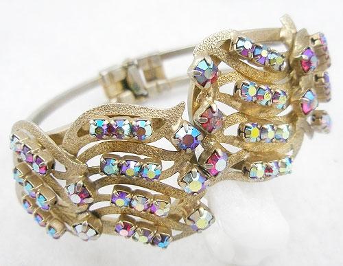 Bracelets - Red Aurora Rhinestone Clamper Bracelet
