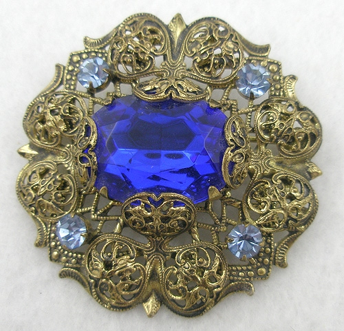 Brooches - Gilded Filigree Blue Glass Brooch