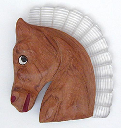 Newly Added Wood & Lucite Horse Brooch