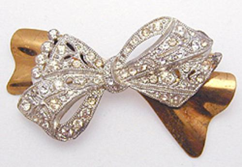 Brooches - 1930's Rhinestone Bow Brooch