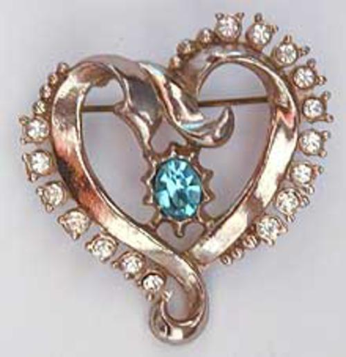 Newly Added Golden Ribbon Heart Brooch
