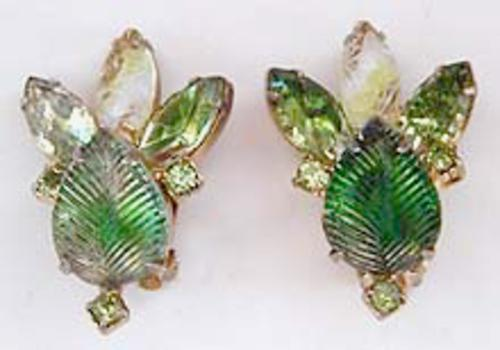 Newly Added DeLizza and Elster Green Art Glass Earrings