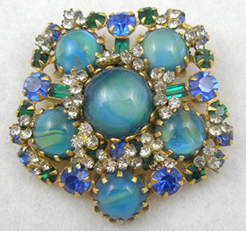 Brooches - Aqua Art Glass Cabochon Brooch