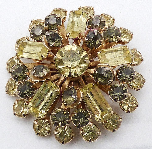 Pantone Colors of the Year 2021 - Yellow and Gray Rhinestone Brooch