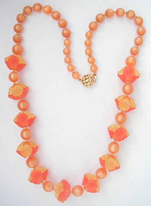 Summer Hot Colors Jewelry - Orange and Yellow Flowers and Moonglow Bead Necklace