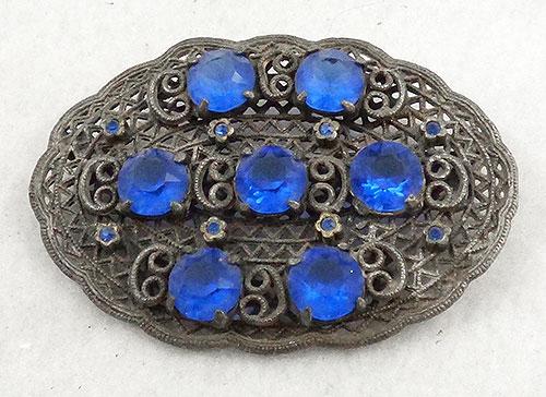 Brooches - Silver Filigree Blue Rhinestone Brooch