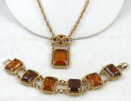 Autumn Fall Colors Jewelry - Sarah Coventry Topaz Necklace and Bracelet Demi