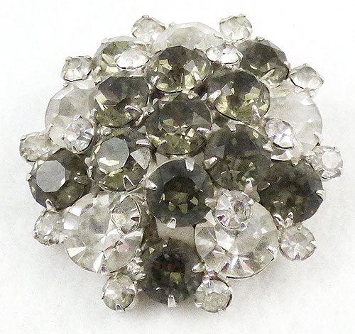 Brooches - Black Diamond and Clear Rhinestone Brooch