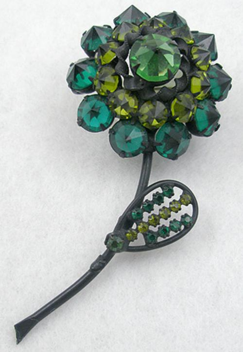 Newly Added Austrian Japanned Inverted Rhinestone Flower Brooch