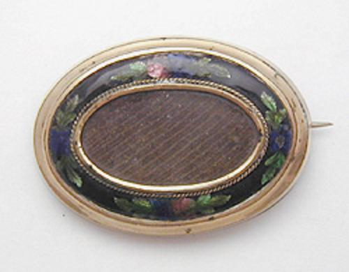 Brooches - Black Enameled Mourning Hair Brooch