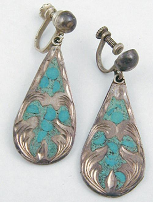 Newly Added Mexican Sterling Inlaid Turquoise Earrings