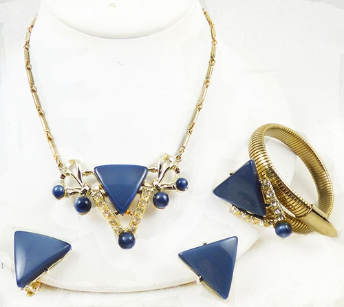 Pantone Color of the Year 2020 - Blue Moonglow Lucite Triangles Parure