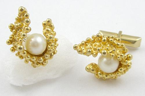 Bridal, Wedding, Special Occasion - Gold Tone & Pearl Cuff Links