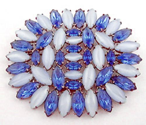 Brooches - Blue Moonstone and Rhinestone Navettes Brooch