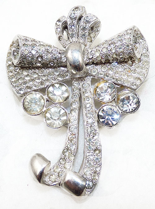 Brooches - Pot Metal Rhinestone Bow Brooch