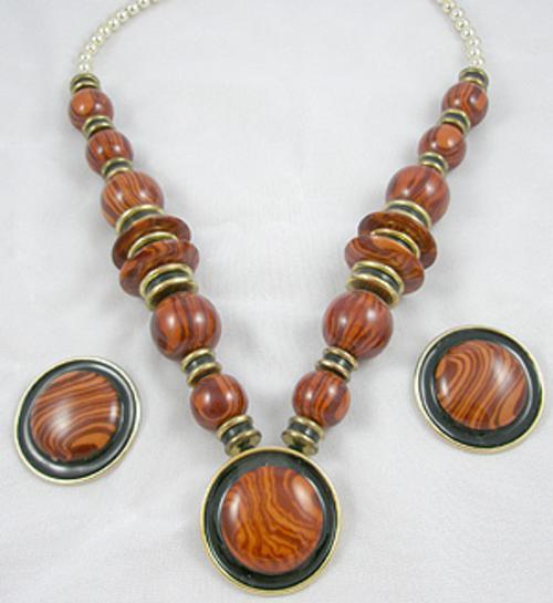 Ethnic & Boho - Plastic Wood-Look Necklace Set