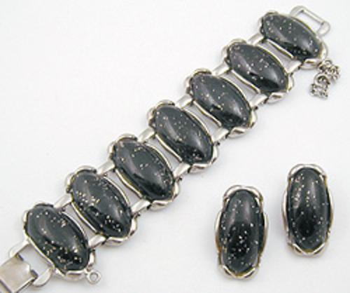 Sets & Parures - Black Lucite Confetti Bracelet Set