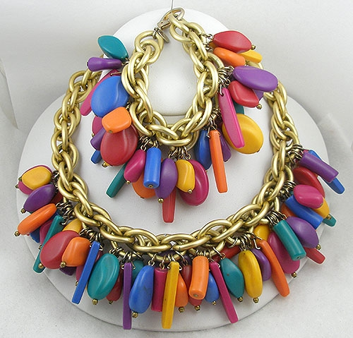 Charm Jewelry - Les Bernard Colorful Charms Necklace Bracelet Demi
