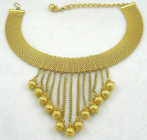 Necklaces - Gold Mesh Bib Necklace