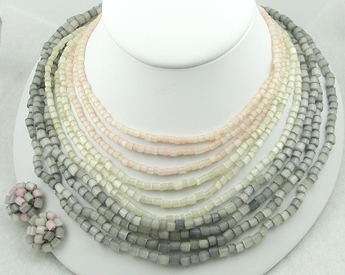 Winter Colors Jewelry - Vogue Mother-of-Pearl Beads Necklace Set