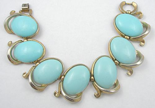 Newly Added Trifari Aqua Plastic Link Bracelet