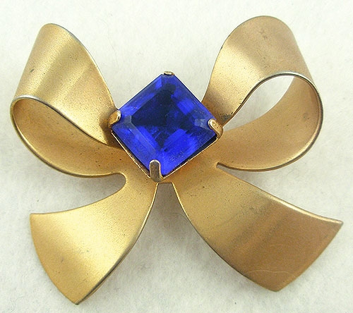 Brooches - Retro Gold Tone Bow Brooch