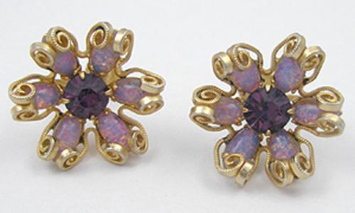 Earrings - Glass Opal Amethyst Rhinestone Earrings