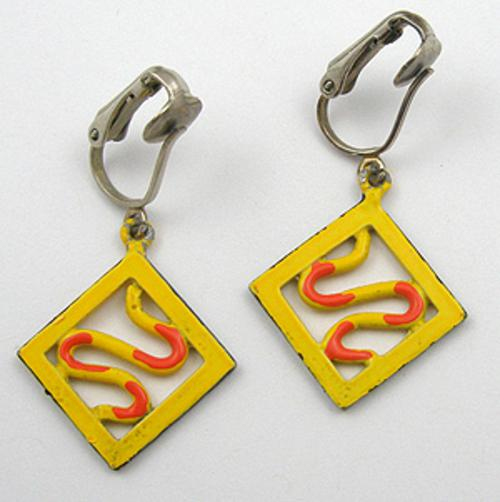 End of Year Sale! 30-50% OFF - Yellow Enamel Earrings