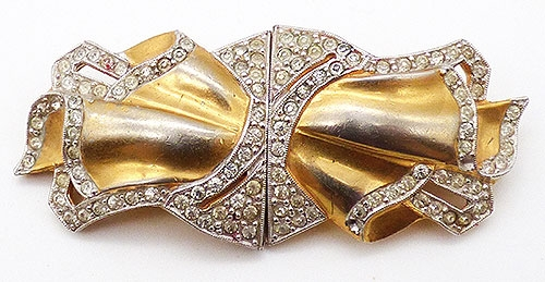 Brooches - Retro Gold Rhinestone Duet Separable Brooch