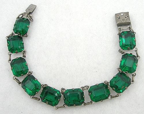 Bracelets - Art Deco Sterling Emerald Rhinestone Bracelet