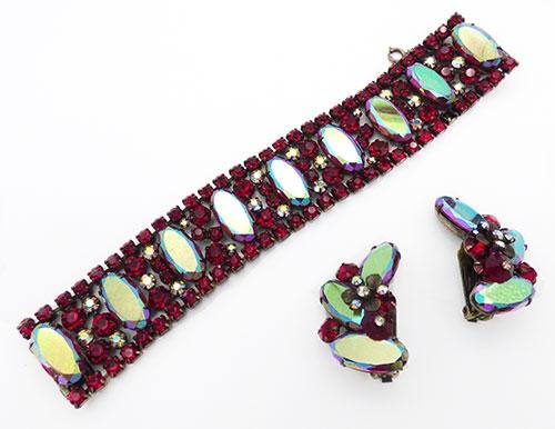 Newly Added Hattie Carnegie Red Aurora Rhinestone Bracelet Set