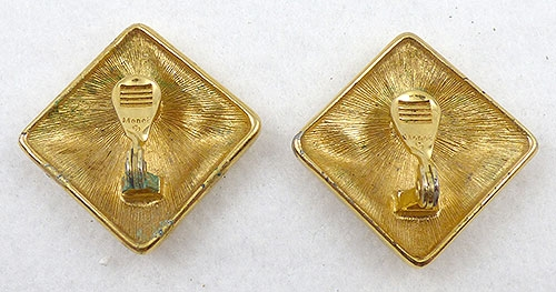 Description Vintage Monet Large Square Clip Earrings Worn On The Diagonal Gold Pated Frame With Cream Enamel In Interior Of Abstract Tone